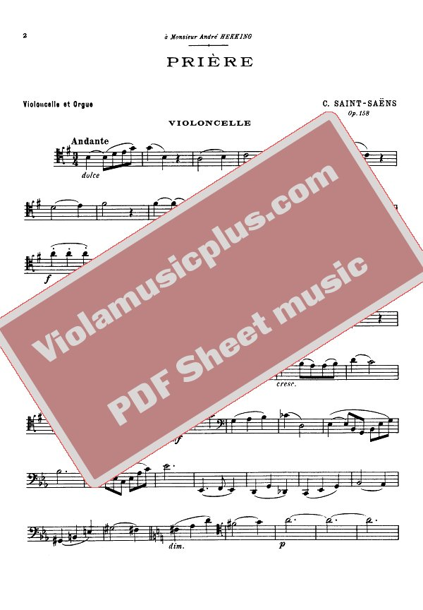 Saint-Saens - Prayer (Priere) for cello | Cello sheet music