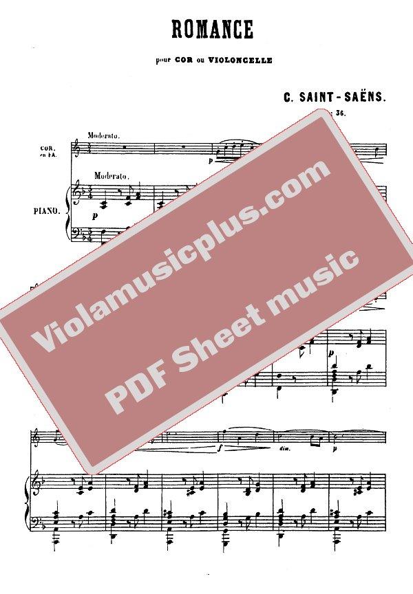 Saint-Saens - Romance for cello op 36 | Cello sheet music