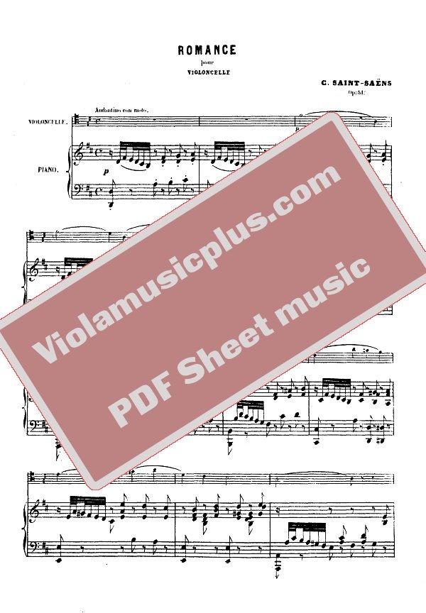 Saint-Saens - Romance for cello op 51 | Cello sheet music